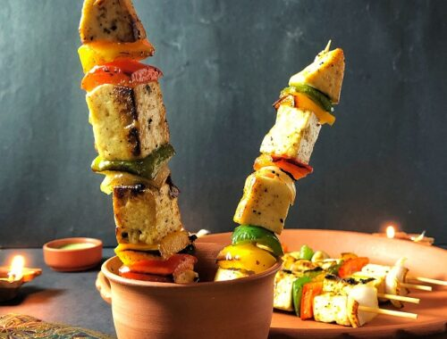 Paneer Tikka Rockets | Grilled Paneer and Vegetable Skewers